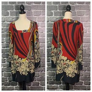 Aryeh ANTHRO Boho Print Sweater Shift Dress Sz L